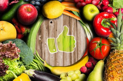 Wall mural Thumbs up for fruit and vegetables