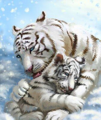 Wall mural tiger family