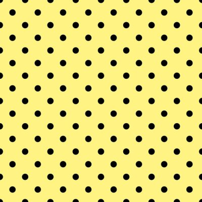 Wall mural Tile vector pattern with black polka dots on yellow background