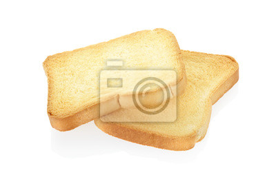 Wall mural Toast bread isolated on white, clipping path included