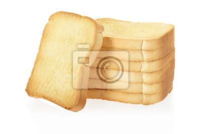 Wall mural Toast or rusk bread on white, clipping path included