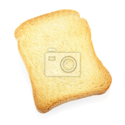 Wall mural Toast or rusk bread slice isolated, clipping path included
