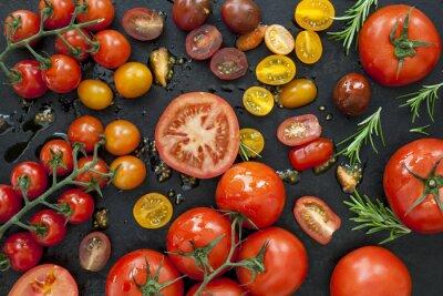 Wall mural Tomato Varieties on Black Overhead View