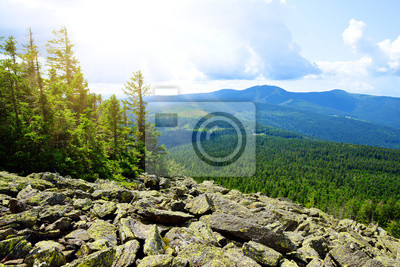 Top of mountain Svaroh in the national park Sumava, Czech Republic. View on the mount Grosser Arber in the Bayerische wald.