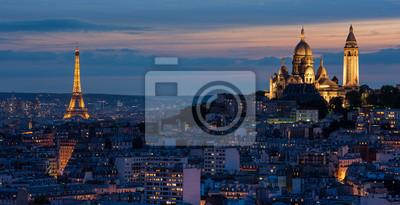 Wall mural Tour Eiffel et Sacré Coeur au couché de soleil
