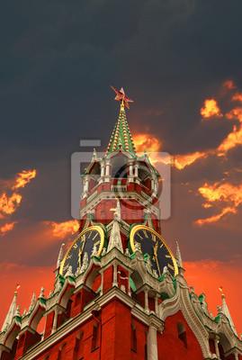 Tower of Kremlin on the sunset background