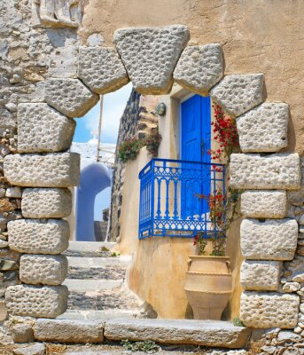 Wall mural Traditional architecture of Oia village on Santorini island, Gre