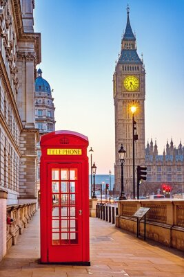 Wall mural Traditional red phone booth and Big Ben in London