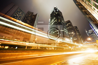 traffic in Hong Kong at night