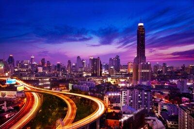 Wall mural Traffic in modern city at night, Bangkok Thailand
