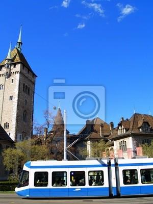 Wall mural tram bleu