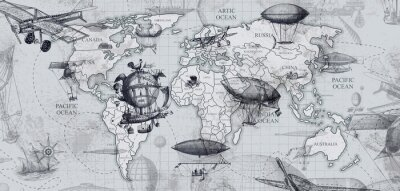 Wall mural travel across the globe, balloons, aircraft, cars, ships photo wallpapers on the wall