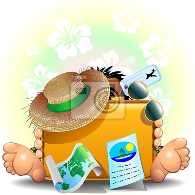 Traveler and Suitcase for Summer Holidays-Valigia Vacanze Estate