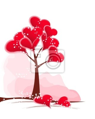tree red hearts