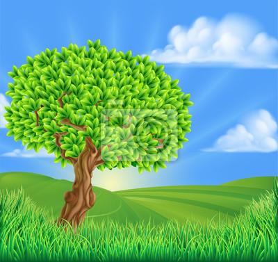 Tree Rolling Hills Landscape Background