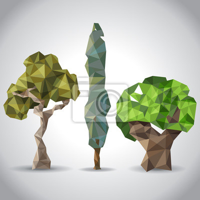 trees in origami style