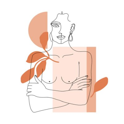 Wall mural Trendy one line woman body with abstract geometric shapes. Girl crossing arms on her chest. Elegant continuous line print for textile, poster, card, t-shirt etc. Vector fashion illustration.