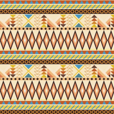 Wall mural Tribal ethnic seamless stripe pattern. swatches included.