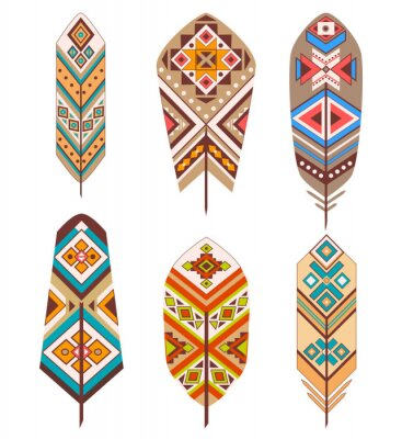 Wall mural Tribal feathers with ethnic pattern