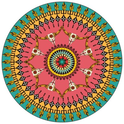 Wall mural Tribal round ornamental background