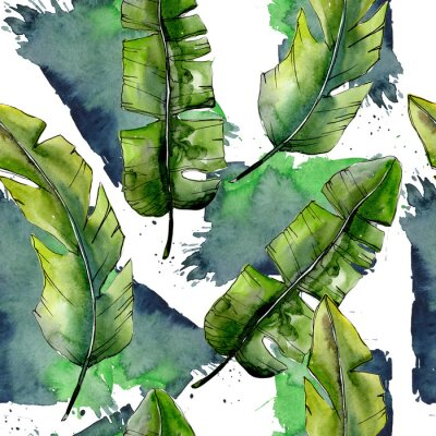 Wall mural Tropical green lesves  in a watercolor style pattern. Aquarelle leaf for background, texture, wrapper pattern, frame or border.