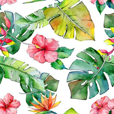 Wall mural Tropical Hawaii leaves pattern in a watercolor style. Aquarelle wild flower for background, texture, wrapper pattern, frame or border.