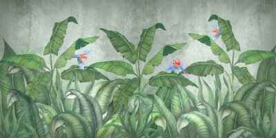 Wall mural Tropical jungle with flying parrots. Against the background of textured plaster.