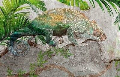 Wall mural Tropical leaves and plants with graphic drawn chameleon on concrete grunge wall. Great choise for wallpaper, photo wallpaper, mural, card, postcard. Design for modern and loft interiors.
