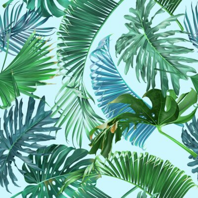 Tropical Leaves Pattern Wall Mural Murals Emerald Botanical Stunning Tropical Leaves Pattern
