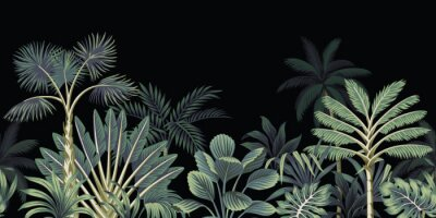 Wall mural Tropical night vintage palm tree, banana tree and plant floral seamless border black background. Exotic dark jungle wallpaper.