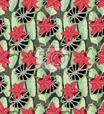 Wall mural Tropical Palm seamless leaf flower pattern