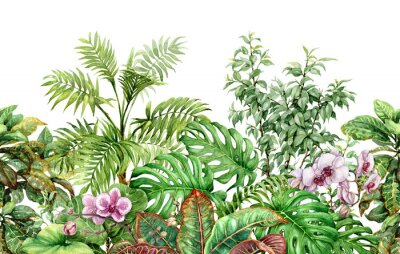 Wall mural Tropical Plants Line Seamless Pattern