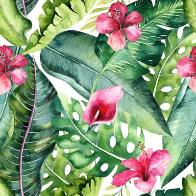 Wall mural Tropical seamless floral summer pattern background with tropical palm leaves, pink flamingo bird, exotic hibiscus. Perfect for jungle wallpapers, fashion textile design, fabric print.