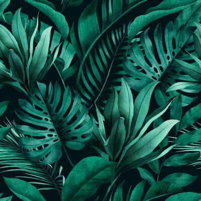 Wall mural Tropical seamless pattern with exotic monstera, banana and palm leaves on dark background.