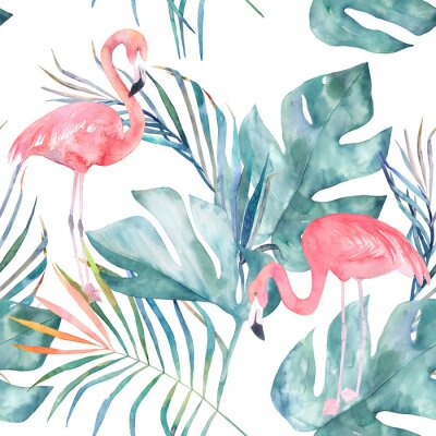 Wall mural Tropical seamless pattern with flamingo and leaves. Watercolor summer print. Exotic hand drawn illustration