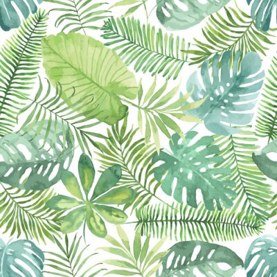 Wall mural Tropical seamless pattern with leaves. Watercolor background with tropical leaves.