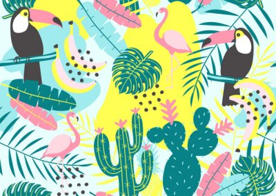 Wall mural Tropical seamless pattern with toucan, flamingos, cactuses and exotic leaves. Vector illustration.