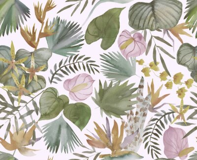 Wall mural Tropical seamless pattern with tropical flowers, banana leaves.  Round palm leaves, watercolor painted