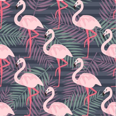 Wall mural Tropical trendy seamless pattern with pink flamingo, pineapples, tropical leafs. Beach background. Tropical paradise
