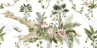 Wall mural Tropical vintage botanical island, palm tree, mountain, sea wave,boat, palm leaves, liana, lotus flower summer floral seamless pattern white background.Exotic jungle wallpaper.