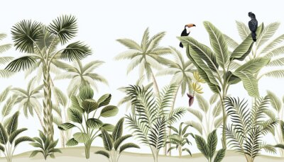Wall mural Tropical vintage botanical landscape, palm tree, banana tree, plant, black parrot, toucan floral seamless border blue background. Exotic green jungle animal wallpaper.