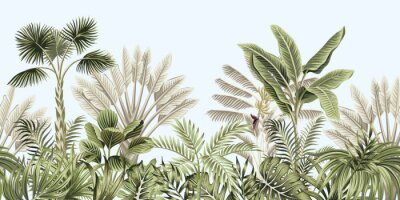 Wall mural  Tropical vintage botanical landscape, palm tree, banana tree, plant floral seamless border blue background. Exotic green jungle wallpaper.