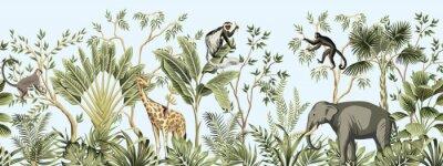 Wall mural Tropical vintage botanical landscape, palm tree, banana tree, plant, palm leaves, giraffe, monkey, elephant floral seamless border blue background. Jungle animal wallpaper.