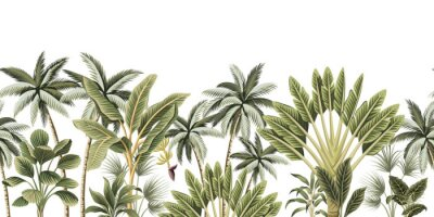 Wall mural Tropical vintage botanical palm trees, banana tree floral seamless border white background. Exotic jungle wallpaper.