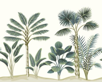 Wall mural Tropical vintage Hawaiian palm trees, banana tree, plant floral seamless pattern white background. Exotic jungle wallpaper.