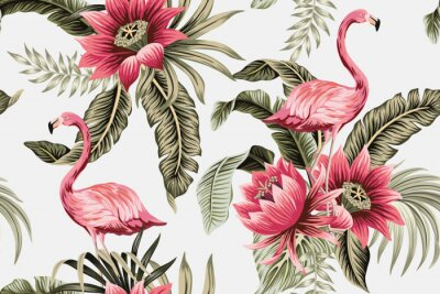 Wall mural Tropical vintage pink flamingo, pink hibiscus, palm leaves floral seamless pattern grey background. Exotic jungle wallpaper.