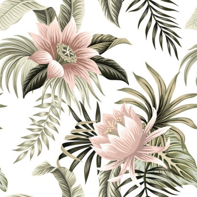 Wall mural Tropical vintage pink lotus, palm leaves, banana leaves floral seamless pattern white background. Exotic jungle wallpaper.