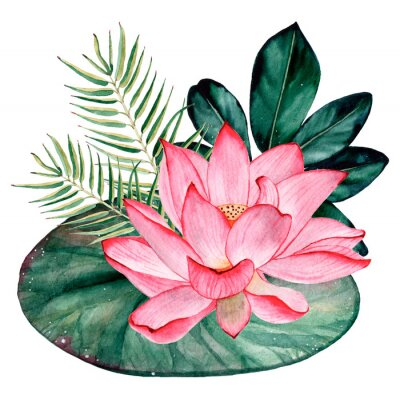 Wall mural Tropical watercolor bouquet and composition