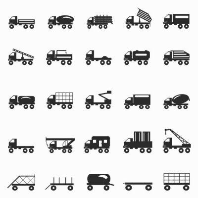 Wall mural trucks symbols set vector illustration