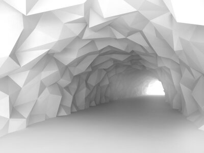 Wall mural Tunnel interior with chaotic polygonal relief of walls